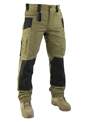 Survival Tactical Gear Lightweight Men's Ripstop Pants Outdoor Military Camo Cargo Trousers for Camping Hiking (Coyote Brown, M)