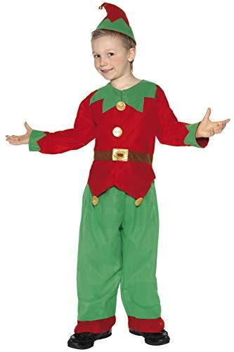 Smiffys-24507s Disfraz de Elfo, con Parte de Arriba, pantalón y Gorro, Color Rojo y Verde, S-Edad 4-6 años (Smiffy'S 24507S)