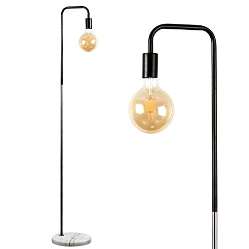 Industrial Black and Chrome Metal Floor Lamp with a White Marble Base - Complete with a 6w LED Filament Light Bulb [2700K Warm White]
