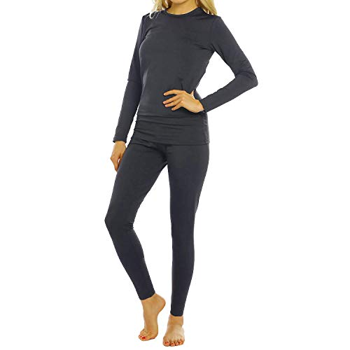 Womens Thermal Underwear Set Long Johns with Fleece Lined Ultra Soft Top & Bottom Base Layer Thermals for Women Charcoal X-Large