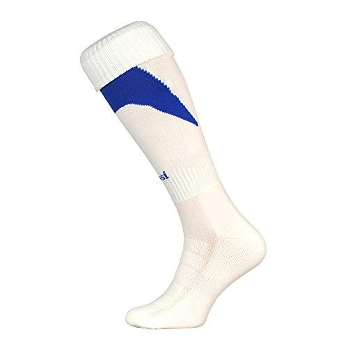 Nessi U Chaussettes de football parfaitement respirantes Blanc/Bleu 44-46