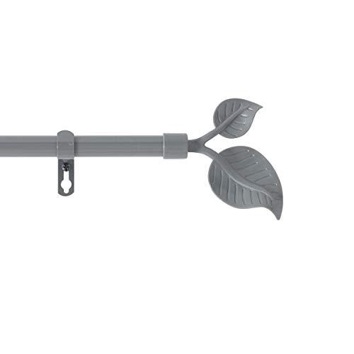 marque Douceur d'intérieur Kit Tringle Extensible 120 à 210 cm Peint Feuillu Gris