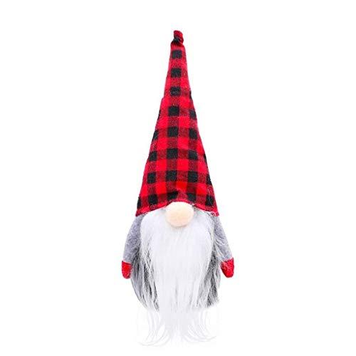 Pstarts Tied Beard Gnome Handmade Swedish Christmas Santa Tomte Plush Doll, Holiday Figurines Toy Xmas Home Ornaments Table Decoration