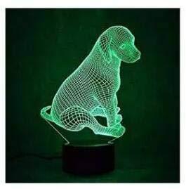 3D Der Hund Optische Illusions-Lampen Tolle 7 Farbwechsel Acryl berühren Tabelle Schreibtisch-Nachtlicht mit USB-Kabel für Kinder Schlafzimmer Geburtstagsgeschenke Geschenk