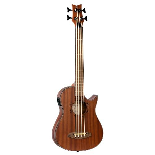 Ortega Guitars Bass Ukulele - bundlos - Lizard Series mit Geckogravur - elektro-akustisch - inklusive Gigbag - massives Mahagoni (LIZZY-PRO)