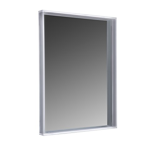 """MAYKKE Sophia 24"""" W x 32"""" H LED Mirror with Shelf Wall Mounted Lighted Bathroom Vanity Mirror Horizontal or Vertical Mirror with LED Lighting Border UL Certified, Silver, LMA1012401"""