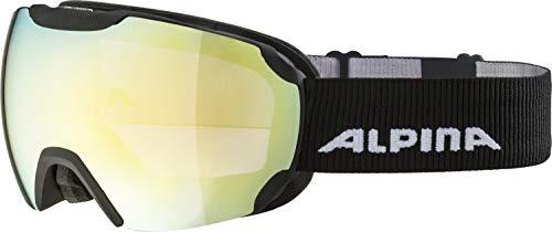 ALPINA Unisex - Erwachsene, PHEOS Q-LITE Skibrille, black matt gold sph., One size