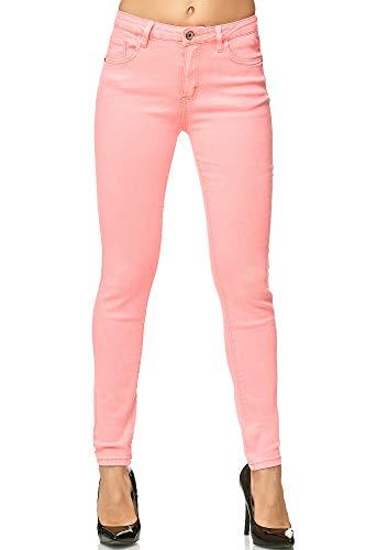 Elara Damen Stretch Hose Skinny Jeans Elastisch Chunkyrayan G09-9 Pink 36 (S)