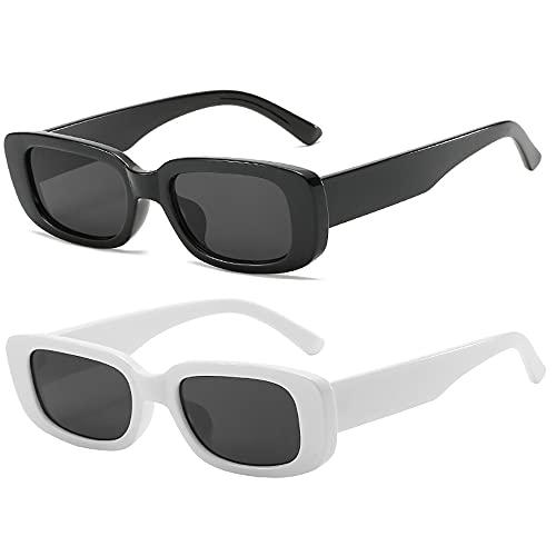 RUNHUIS Gafas de sol retro rectangulares para hombre y mujer, vintage, pequeñas, cuadradas