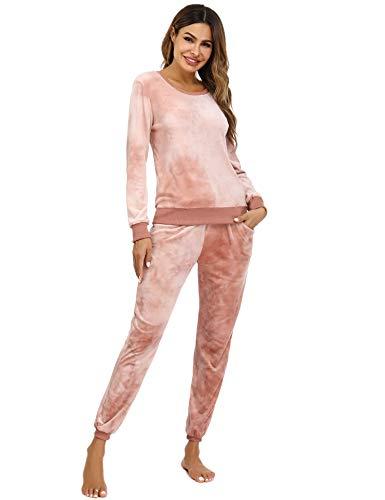 Damen Nicki Hausanzug Tie Dye Samtweich Velours Relax Schlafanzug 2 Teiler Pyjama Langarm Pullover+Sporthose mit Taschen,Beige/Tie Dye-3,XS