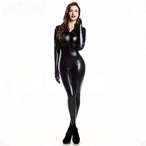 LULIJP Catsuit 2 vías de Wome Cremallera de Cuero de imitación de Clubwear Catsuit de látex Mujeres Gato con Guantes Disfraz Mono (Color : Negro, Size : M)