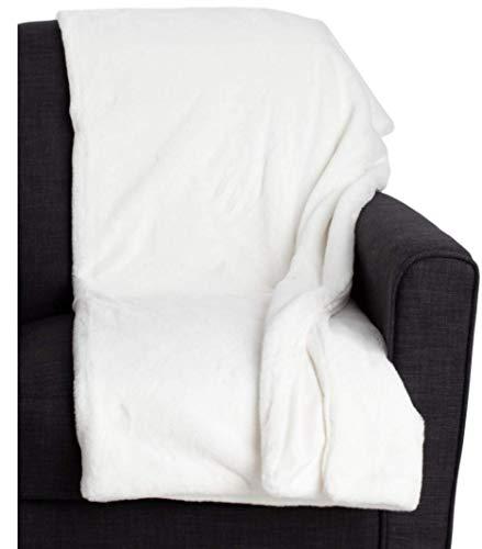 Max Studio Faux Fur Throw Blanket Plush Light Weight Cream White
