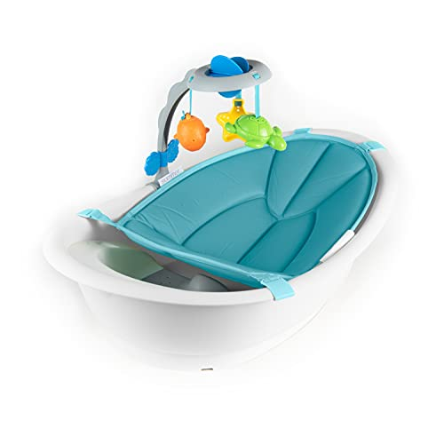 Summer Gentle Support Multi-Stage Tub with Toys - for Ages 0-24 Months - Includes Soft Support, Toy bar and Bath Toys, A Hook for Storage and Dying, and A Drain Plug, White/Blue, One Size