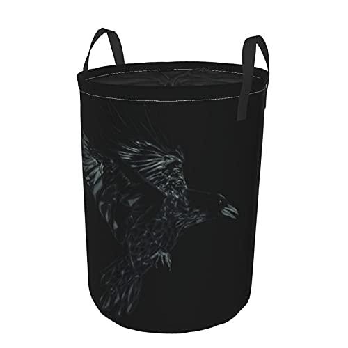 Cesto de lavandería redondo, pájaro grunge, cuervo volador, negro, fauna, página, cuervo, detalle oscuro, dibujo, diseño, vintage, cordón, cesto de lavandería plegable impermeable,19