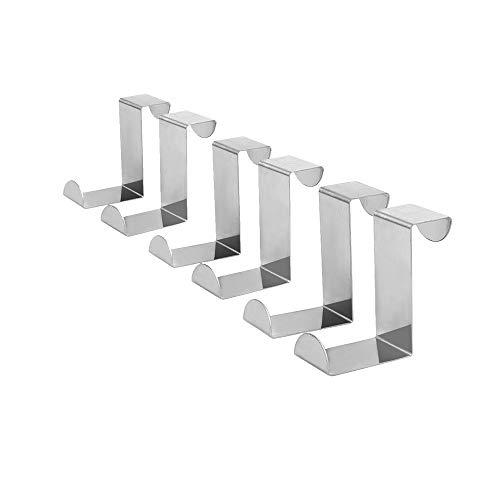 Hengrongyuan 6 pezzi ganci per porta reversibili a forma di Z, ganci reversibili in acciaio inossidabile per armadi e ganci per cassetti per vestiti e ganci per cappelli (45 mm)