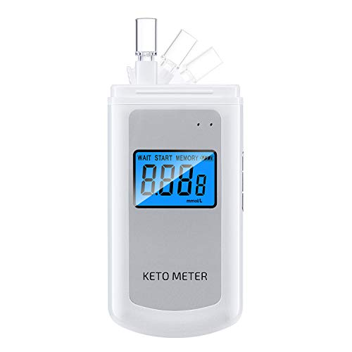 Ketone Meter Rechargeable Breath Ketone Analyzer, Portable Digital Acetone Checker with 10 Mouthpieces for People on Ketogenic Diet