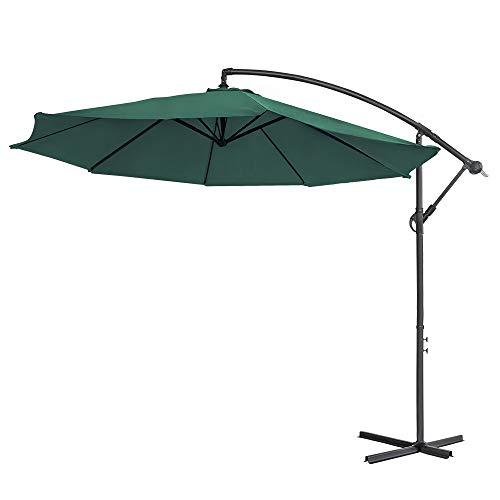 Aufun Alu Sonnenschirme 350cm mit kurbel UV Schutz 40+ - Grün balkonschirm gartenschirm höhenverstellbarer (Grün)