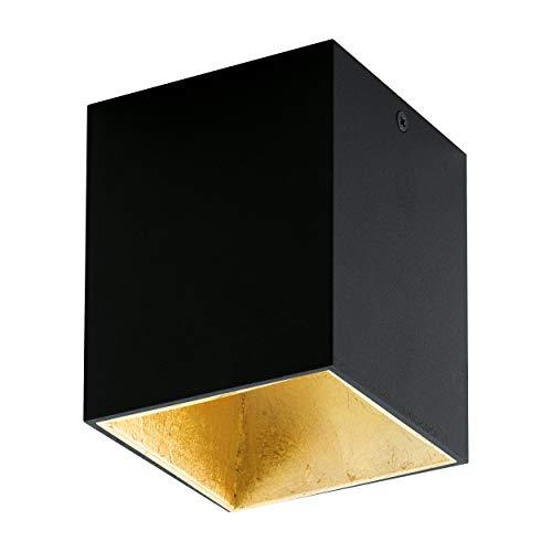 EGLO LED Deckenleuchte Polasso, 1 flammige Deckenlampe, Material: Aluminium, Kunststoff, Farbe: Schwarz, gold, L: 10x10 cm