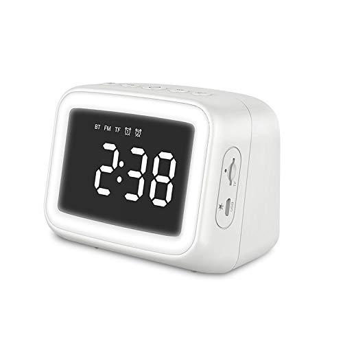 目覚まし時計 大音量 置き時計 Bluetooth目ざまし時計 13多機能 小型デジタル時計 ナイトライト 置時計&ダブルアラーム&温度計&Bluetoothスピーカー&化粧鏡&LEDリングライト&FMラジオ機能&スヌーズ&音量調整&時刻明るさ調整&電話受