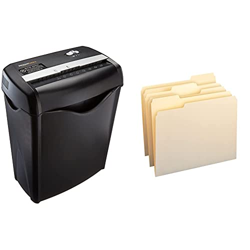Amazon Basics 6-Sheet Cross-Cut Paper and Credit Card Home Office Shredder & 1/3-Cut Tab, Assorted Positions File Folders, Letter Size, Manila - Pack of 100