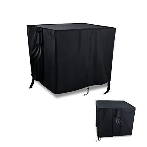 Flymer - Funda para mesa de jardín rectangular de jardín (impermeable, a prueba de roturas, antiUV, para interiores y exteriores, 105 x 105 x 55 cm), color negro
