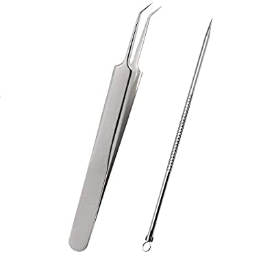 SelfTek Blackhead Removal Tool Tweezers Kit Cure for Pimple, Blemish, Whitehead Popping, Zit Removing