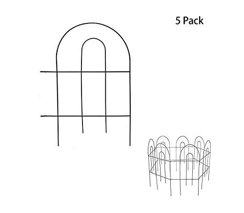 YOUKOOD 18 Inch Decorative Garden Fence 18 in x 13 in, Landscape Panel, Folding Patio Fences Flower Bed Pet Barrier Section Panel Decorative Fence, Animal Barrier for Outdoor Garden Fence (Pack of 5)