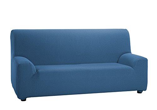 Martina Home Tunez Copridivano elastico, Tela (50% poliestere, 45% cotone, 5% elastan), Azzurro, 3 posti da 180 a 240 cm di larghezza.