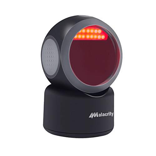 Alacrity 1D 2D QR Desktop Barcode Scanner, omnidirektionaler freihändiger USB Barcode Leser, Justierbarer Kopfwinkel erfasst Barcodes vom Handy-Bildschirm, automatische Bilderkennung, Schwarz