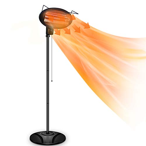 Patio Heater-1500W Outdoor Electric Heater, 3 Adjustable Power Level Outdoor Infrared Heater with Tip Over & Overheat Protection,...