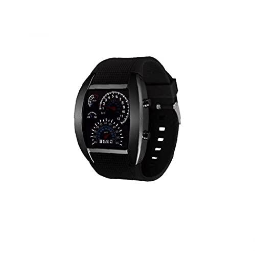 Tuimiyisou Unisex Multi usos del Tablero de Instrumentos Reloj Deportivo Aire Reloj electrónico Digital con Cuero Brazalete del Estilo Simple Ventilador de marcación Forma de Reloj