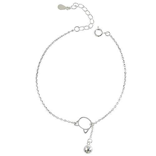 Armband aus 925 Sterlingsilber, Katzen-Glöckchen, koreanische Version der einfachen süßen kleinen frischen Studenten Freundinnen Geschenk