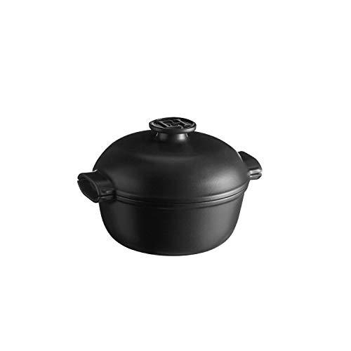 Emile Henry EH779562 Petite cocotte ronde Delight Céramique Induction, 2 litres, noire