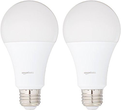 Amazon Basics 100 Watt Equivalent, Daylight, Non-Dimmable, 15,000 Hour Lifetime, A21 LED Light Bulb   2-Pack