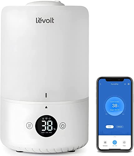 LEVOIT Humidifiers for Bedroom, Top Fill Cool Mist Ultrasonic for Baby Nursery Kids with Essential Oils, Smart Control with Constant Humidity for Plants Indoor, Quiet Easy Clean, BPA Free, 3L, White