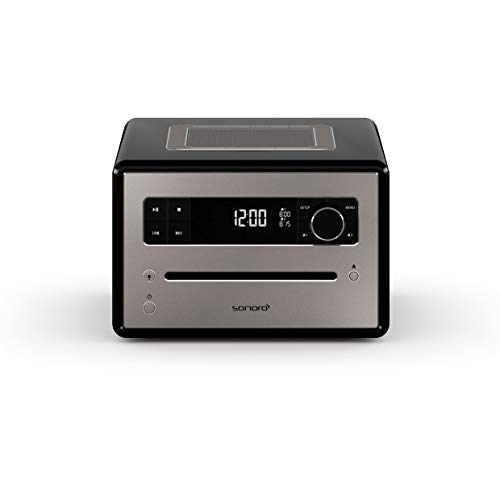 sonoro QUBO CD Player mit USB, Radio und Bluetooth (UKW/FM, DAB Plus, MP3, Wecker, dimmbares Display) Schwarz