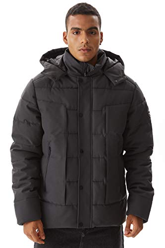 Molemsx Men's Alternative Down Jacket Mens Short Waterproof Mountain Jacket for Cold Weather Winter Puffer Windproof Warm Alpine Vegan Ski Snowboarding Jacket Parka Coats Grey,Medium