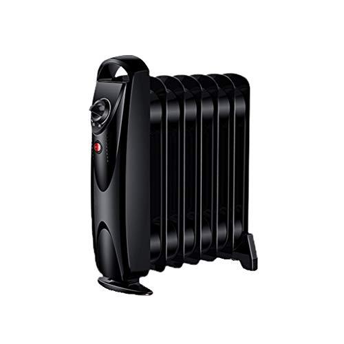 SHENXINCI Pequeña Mini Radiador de Aceite,700 W, 7 Elementos, Termostato, Regulador de Potencia para Un Bajo Consumo,Protección contra Cortes de Energía con Ángulo de Inclinación de 30 °,Negro