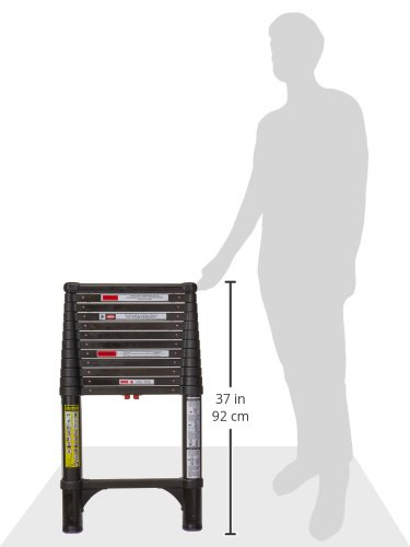 Telesteps 1600ET Black Tactical OSHA Compliant 12.5 ft Actual Height, 16 ft Reach, Telescoping Ext Ladder