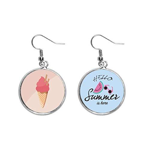 Keks-Ohrhänger, Ei-konisch, rote Eiscreme, Sommer-Wassermelonen-Ohrringe