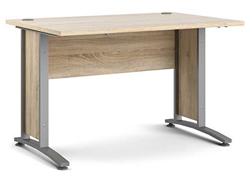 Schreibtisch, silberfarbig, grau