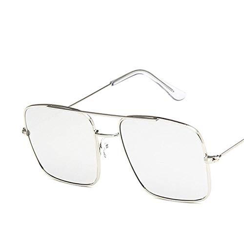 DLSM Vintage Square Gafas de Sol Mujeres Retro Gradiente Espejo Pequeño Aleación Mujer Gafas de Sol UV400 Adecuado para Playa Partido Conducción Gafas de Sol Gafas de Golf-Plata Plateada