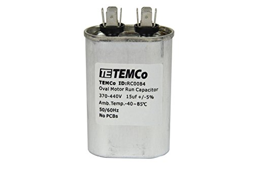 TEMCo 15 uf/MFD 370-440 VAC Volts Oval Run Capacitor 50/60 Hz AC Electric - Lot -1