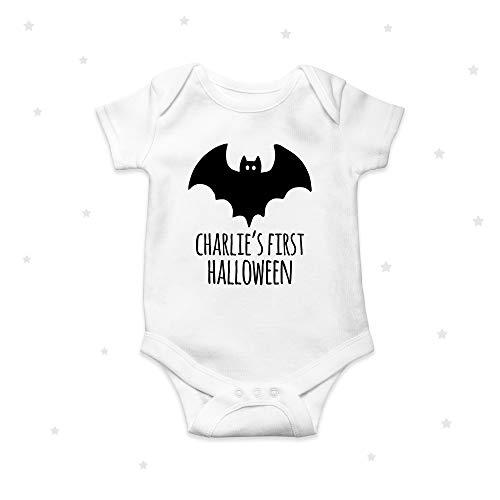 Personalizado Primer Halloween Bebé Crecer Bebé Mono Bates Spooky Negro Bebé Ropa Mono 3 Mes