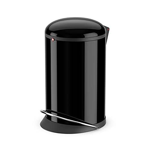 Hailo Harmony M Mülleimer | 12 Liter | Soft Close Deckel Absenkautomatik | Stahlblech | breite Metall-Fußreling | Müllbeutel-Klemmringsystem | Tragegriff | Mülleimer rund | Made in DE | schwarz