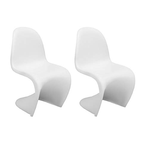 HWZQHJY S-Form Stuhl Mid-Century Modern 2-Pack (Color : White)