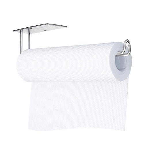 Vanwood Kitchen Paper Towel Holder Stick On Wall Vertical or Horizontal - Large Rolls Papertowel Rack Under Cabinet &Wall Mount Both Available in Self Adhesive and Screws, 304 SUS Stainless Steel
