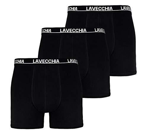 Lavecchia Herren Boxershort`s im 3er Pack schwarz Übergröße 4XL 5XL 6XL 7XL 8XL (Gr.16 / 5XL, Schwarz)