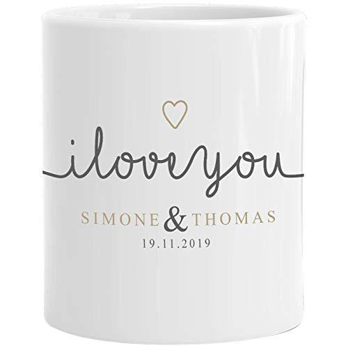 SpecialMe® personalisierte Kaffeetasse I love you Tasse individuelle Liebes-Geschenke mit Namen und Datum anpassbar weiß Keramik-Tasse