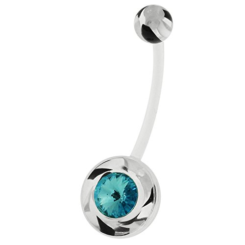 Monster piercing met kristallen in marmer wervelende bio flexibele zwangerschapsbuik, bar-sieraden